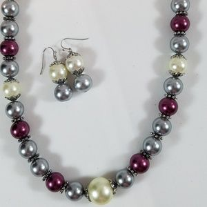 White/Gray/Burgundy Faux Pearl Necklace Set